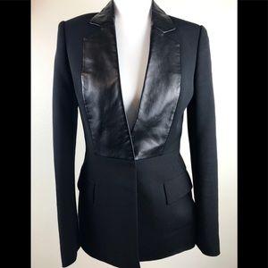 Alexander Wang leather trim tuxedo black blazer. 2